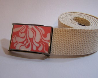 White Rain Belt shown on cream strap (Ready To Ship)