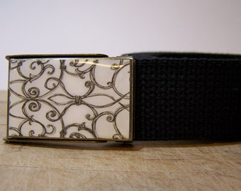 Modern Web Belt shown on a black strap (Ready To Ship)