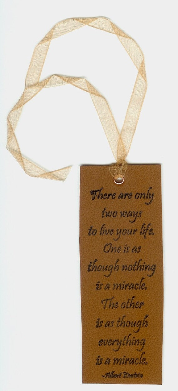 Einstein Bookmark -- Miracles Quote, Rustic Faux Leather Look, Upcycled Vinyl -- Only Two Ways To Live Your Life, Inspirational