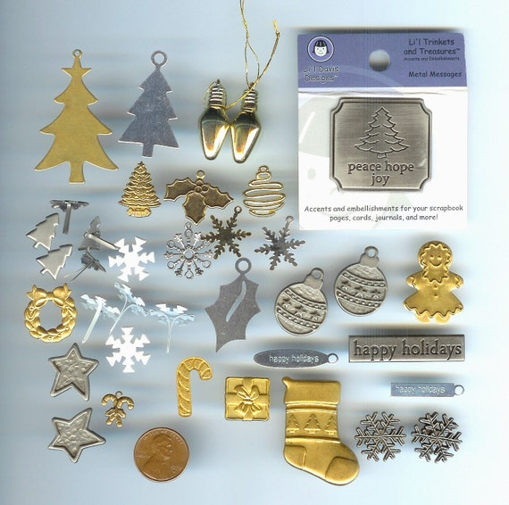 37 Christmas Holiday Winter Charms Embellisments, Most (33) Are METAL -- Destash -- Ornaments, Brads, Trees, Words, Snowflakes, Stocking