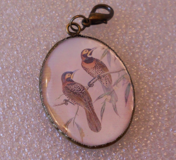 Speckled Birds Art Pendant Charm -- Resin Pendant, Birds on Branches Necklace Charm, Bird Art, Oval Pendant