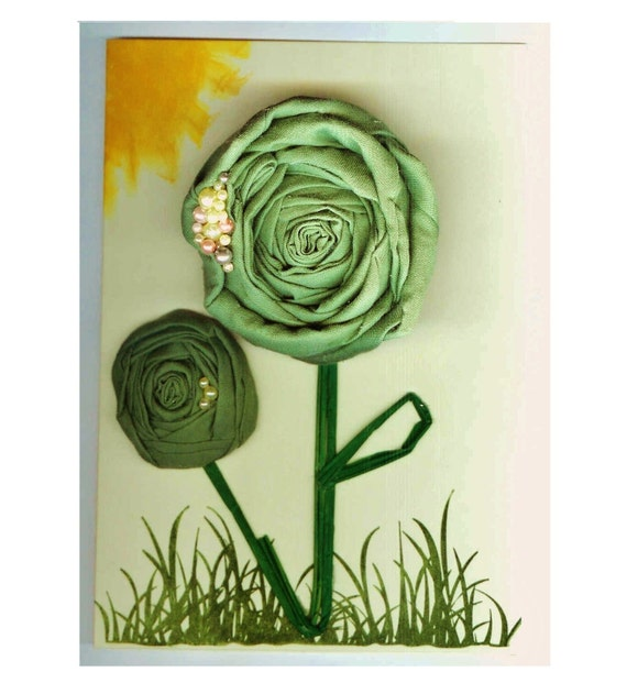 Card & Gift Set for Her: Greenery, Flower Pin Brooch + GREETING CARD in One, Mother Grandma Wife Gift, REMOVABLE Green Flower Pin, Birthday