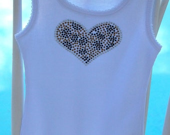 Boutique Leopard Print Rhinestone Heart Tank- Makes a great addition to any tutu or pettiskirt