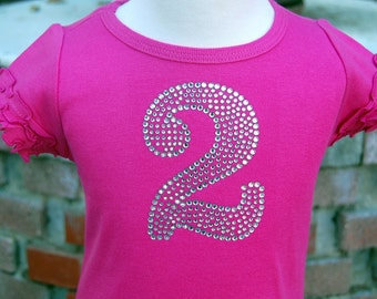 Bling Number Birthday Shirt- Boutique Quality Rhinestone Number Shirt- Perfect paired with a Tutu or Pettiskirt-