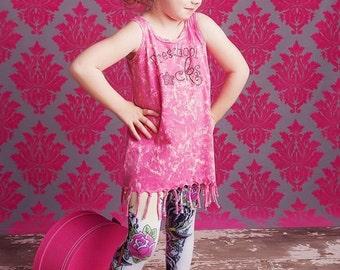Preschool Rocks Bling Vintage Wash Tie Fringe Border Cotton Jersey Dress- Hot Pink, Turquoise, OR Black