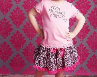 Big Sisters Rock Rhinestone Bling Shirt- Pink and Brown Rhinestones- Available in Baby Pink, Bubble Gum Pink or White
