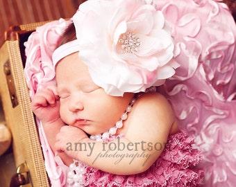 Soft Creamy Pink Large Rose with Beautiful Rhinestone Cluster Center Headband- Soft Stretch Headband