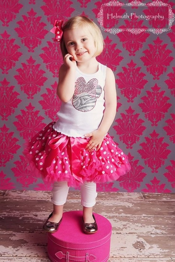 Closeout: Zebra and Pink Minnie Mouse Rhinestone Tank Top, Short Sleeve, Long Sleeve or Onesie- PETTISKIRT and Hairbow are NOT INCLUDED