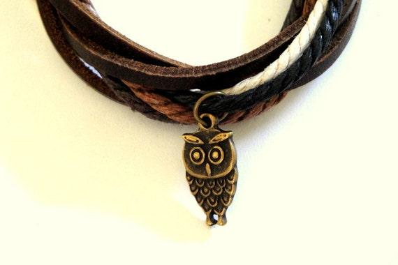 Bronze Owl Cord Bracelet SALE