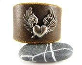 Heart with Wings Leather Cuff---Upcycled Belt Bracelet