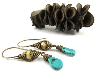 Turquoise and Yellow Glass Earring