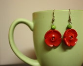Red Poppies Christmas Button Earrings