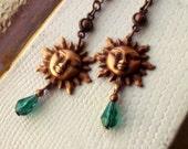 Copper Sun Earrings - Emerald Glass Teardrops