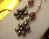 Flower Earrings / Antique Silver / Lumi Pinkaline Czech Glass