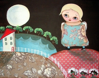 WITH THE MOON MIXED MEDIA ART PRINT FROM ORIGINAL PRIMITIVE FOLK ART PAINTING LANA COFFILL