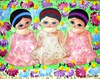 FLOWER FAIRIES ORIGINAL PAINTING PRINT (8X10) PRIMITIVE FOLK ART BY LANA COFFILL