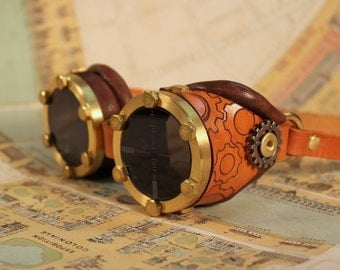 Brass goggles with etched gears