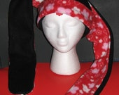 Fleece Black Rabbit Hat with Red Flower Pattern