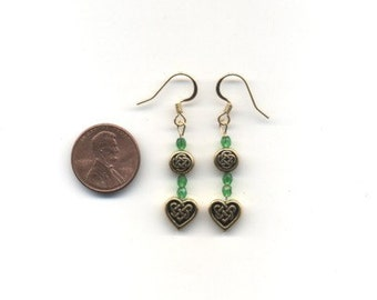 Gold and Green Celtic / Irish Beaded Earrings - FREE SHIPPING
