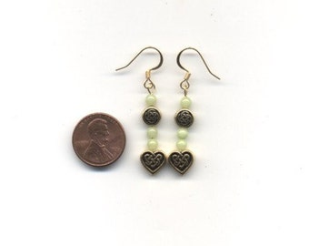 Gold and Light Green Celtic / Irish Beaded Earrings - FREE SHIPPING