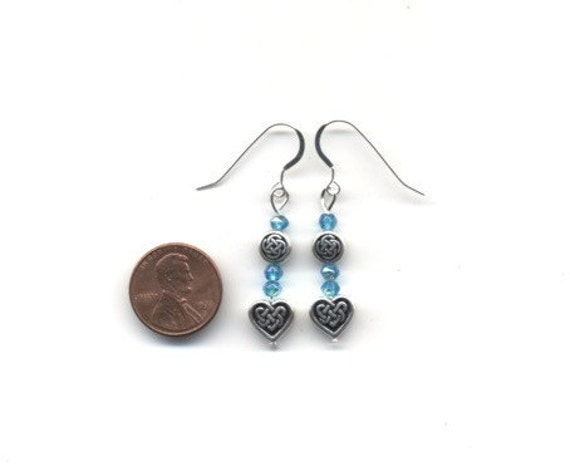 Blue and Silver Celtic / Irish Earrings - FREE SHIPPING