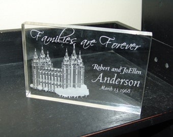 Personalized Engraved Acrylic temple sign plaque LDS Temples families are forever sign wedding date