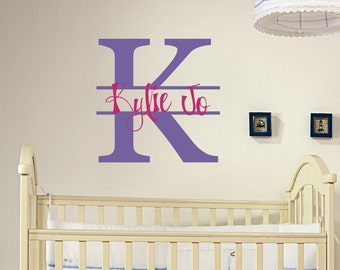 Personalized name and initial vinyl wall decal art for bedroom