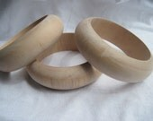 Three Large Unfinished Wood Bangles