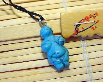 Blue Howlite Goddess / Venus Willendorf Pendant on cord, Fertility, Birth 14t500