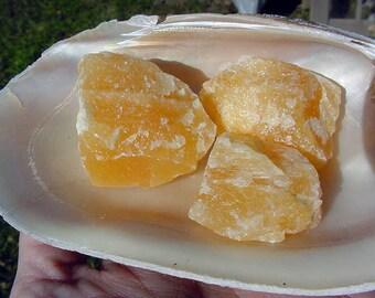 3 Orange Calcite Mexico Natural Rough Specimen Pieces, Healing, Emotional Balance, Lapidary  vr115