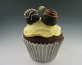 Faux Gourmet Chocolate Cupcake - Yellow Icing with Truffles