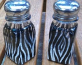 Zebra Salt and Pepper Shakers Painted Glass Salt & Pepper Safari Animal Print Shakers by Lisa Hayward