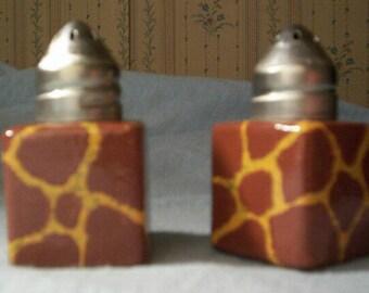 Giraffe Handpainted Glass Small Salt and Pepper Shakers Animal Print Jungle Safari by Lisa Hayward