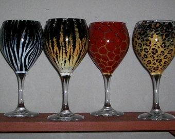 Eight (8) Wineglasses Animal Print Hand-painted Wine Glasses by Lisa Hayward