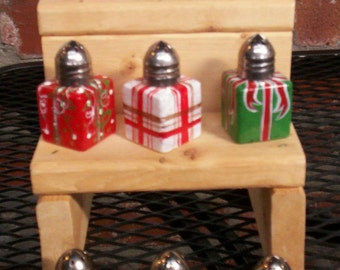 Christmas Package Hand-painted Glass Salt and Pepper Shakers by Lisa Hayward
