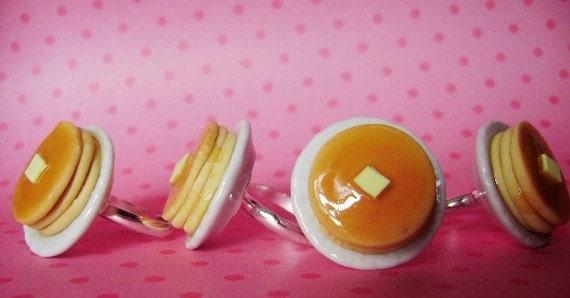 Pancake Stack Ring Scented/Miniature Food/Polymer Clay Pancakes/Mini Pancakes