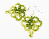 Green lace earrings green leaf lace earrings retro bridesmaid jewelry - leaves earrings - Mother's Day gift