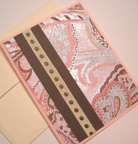 Valentine's Day Card - Swirls of Pink and Brown