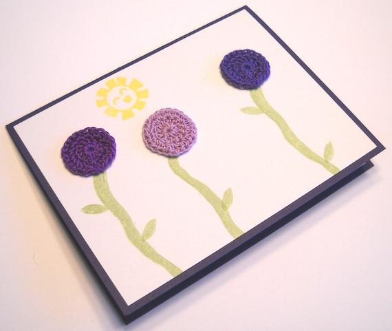 Blank Card - Purple Crocheted Flowers