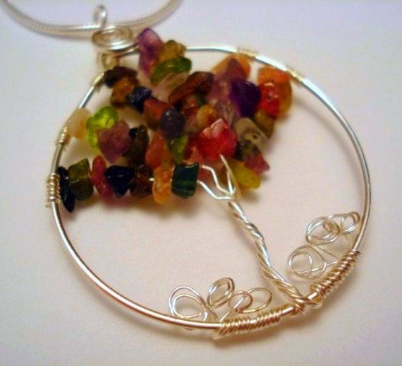 LIFE COLLECTION - Tourmaline Sterling Silver Tree of Life Pendant and Necklace - RESERVED ITEM