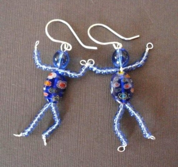 AVATAR inspired Na'vi Sterling Silver Wire and Bead People Earrings - shipping included