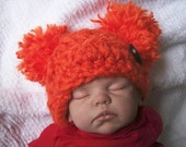 Adorable... Orange.... Frayed Pom Pom Hat for Infants....NEWBORN and 0 to 3 Month Sizes... Month size...Boy or Girl..... Photo Prop