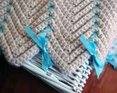 Baby Boy Afghan - Beige and Blue