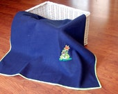 Navy Polar Fleece Blanket with Frog