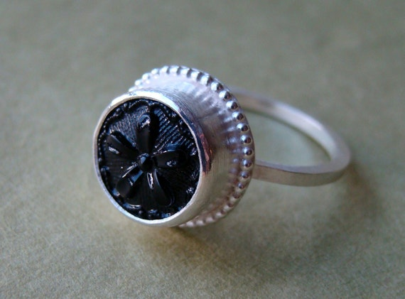 upcycled glass button ring - recycled button - button jewelry - size 7