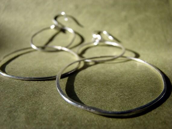 large silver hoop earrings - long, loopy, and fun - karma - eternity