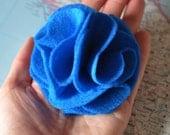 Electric Blue Felt Carnation Brooch