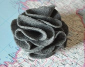 Grey Felt Carnation Brooch