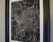 JERUSALEM-Map Print B/W