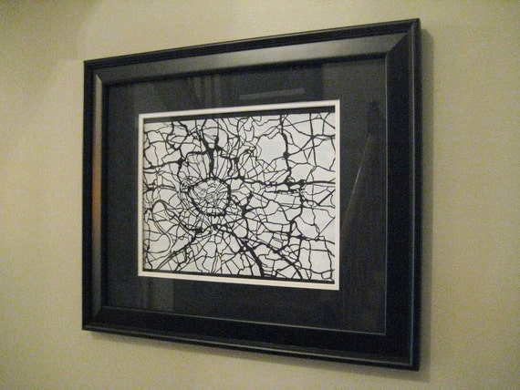 Original PARIS Map Screen Print White on Black